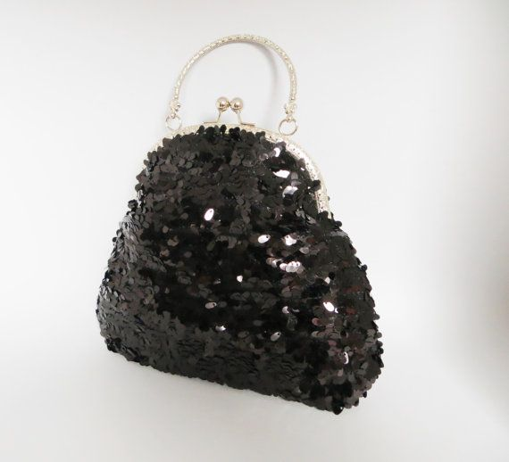 Black sequins retro style purse Great Gatsby by LoveThirties