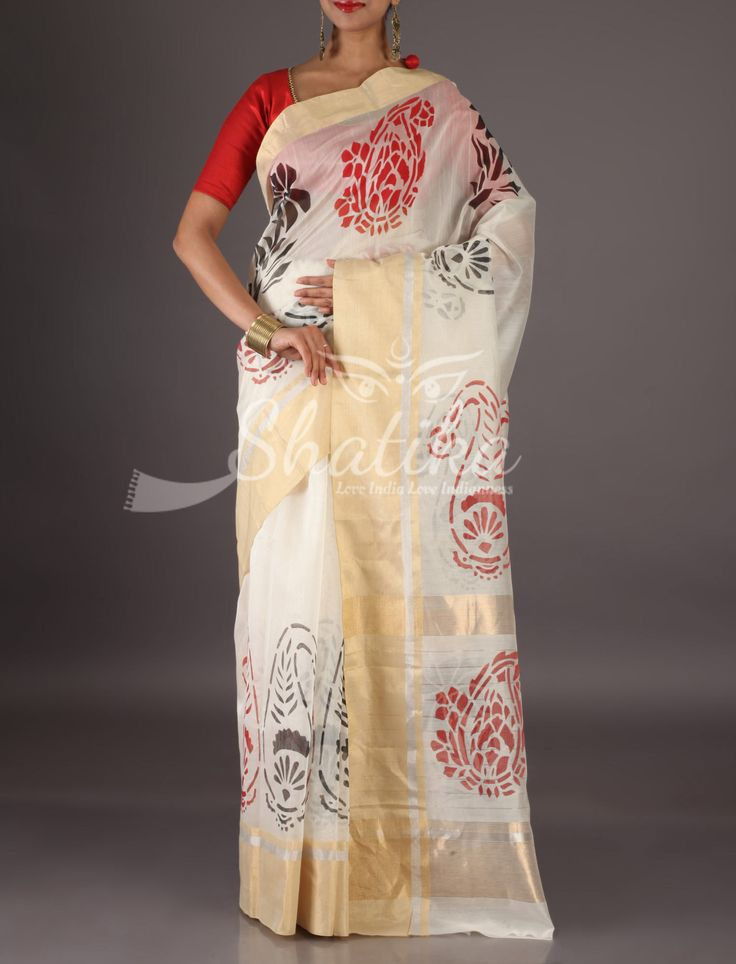 Chinmaya White With Gold Border Palms And Paisleys Chanderi Block Printed Saree