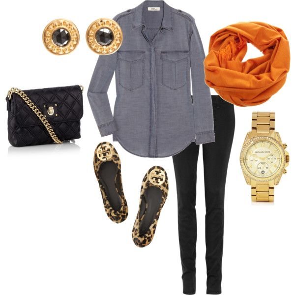 Cute!Orange, Style, Southern Charms, Clothing, Fashion Design, Tory Burch, Denim Shirts, Fall Outfit, Leopards Flats