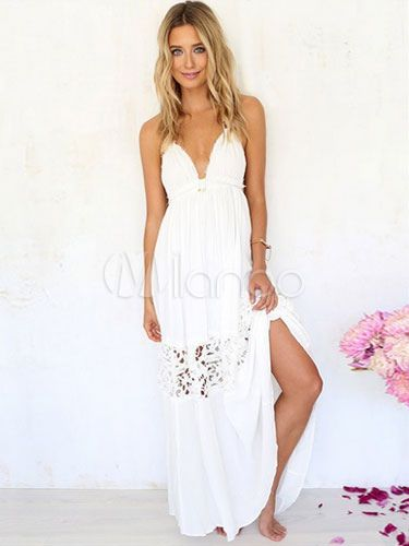 Straps Maxi Dress Backless Split White Cotton Dress