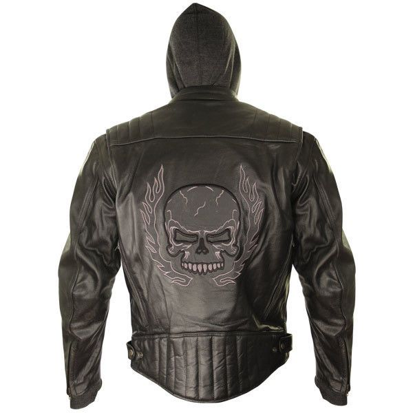 BXU573 3XLReflective Skull Cowhide Leather Armored Motorcycle Jacket W/ Hoodie #Xelement #Motorcycle
