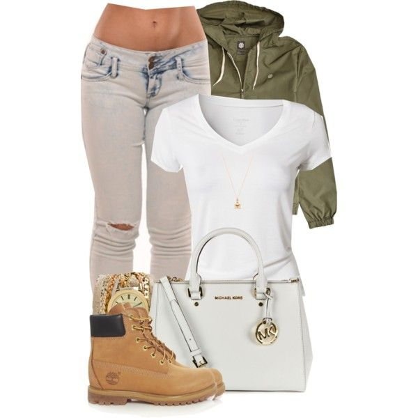 A fashion look from December 2014 featuring Calvin Klein t-shirts, Timberland boots and MICHAEL Michael Kors tote bags. Browse and shop related looks.