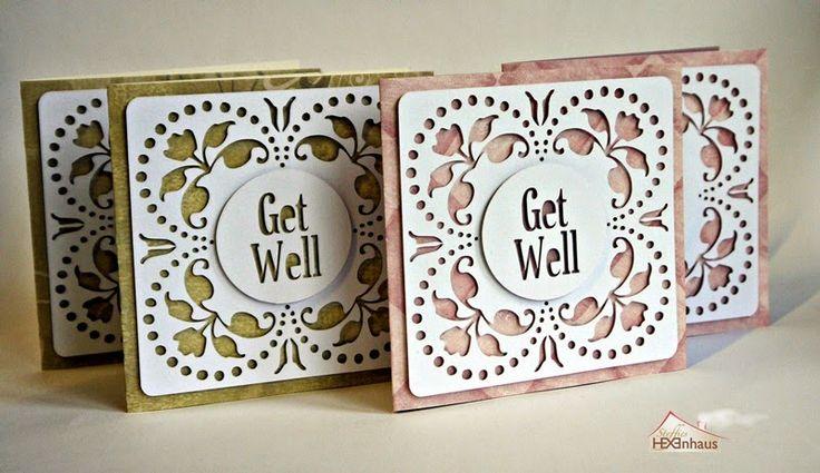 Get well! - Gute Besserung! - Karten mit Cameo geschnitten - free Studio-Datei . auch andere Texte