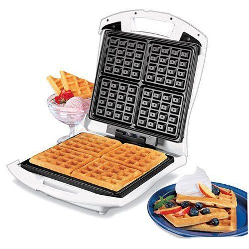#bestoftheday #FF This Proctor Silex 26050 4 SquareBelgian Waffle Maker review features an inexpensive model that makes 4 deep, square, golden Belgian waffles at one time. It's a handy and fun appliance that makes enough waffles to feed a hungry family, quickly while you get the next batch...