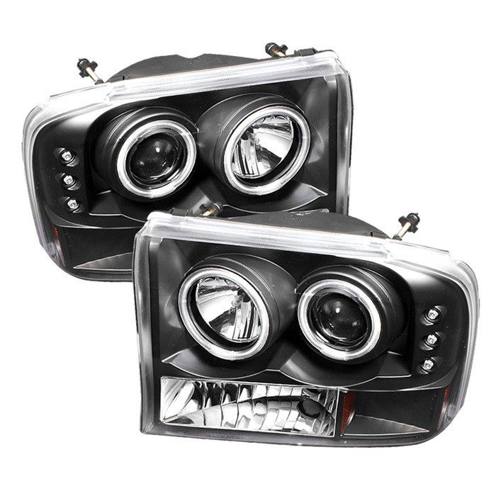 ( Spyder ) Ford F250 Super Duty 99-04 / Ford Excursion 00-04 1PC Projector Headlights - Version 2 - CCFL Halo - LED ( Replaceable LEDs ) - Black - High H1 (Included) - Low H1 (Included) These tail lig
