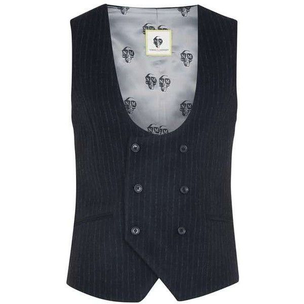 Noose Monkey Navy Stripe Wool Rich Suit Vest ($35) ❤ liked on Polyvore featuring outerwear, vests, striped vest, navy striped vest, navy blue vest, navy vests and wool waistcoat