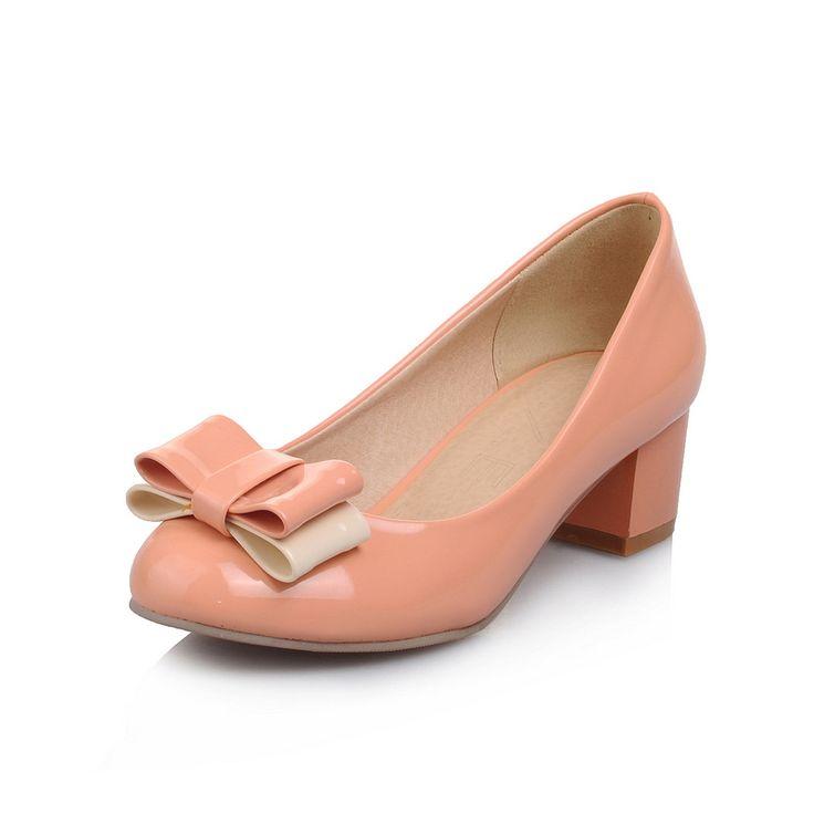 Бесплатная Доставка Яркие Дамы Высокие Каблуки 2016 Новая Мода Обувь Женская Летняя ОЛ Квадратных Каблуках Патент ПУ Кожа Женщины Насосы
