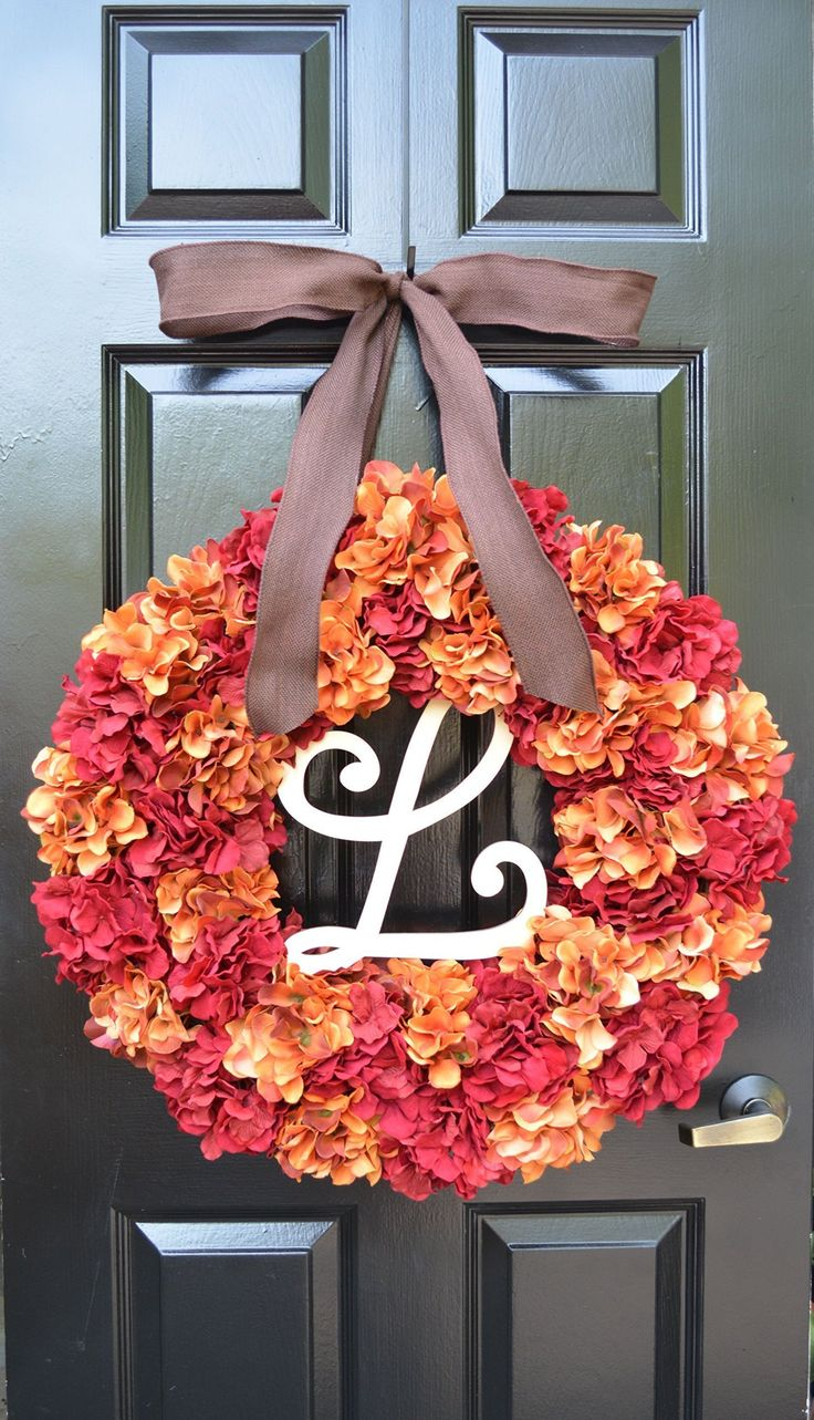 Elegant Holidays Handmade Silk Hydrangea Wreath (2: Orange, Red or Green) with Monogram & Bow, Great All Seasons and Holidays- Decorative Front Door to Welcome Guests for Outdoor or Indoor Home Décor. All wreaths are made to order by hand. We have been featured in Better Homes and Gardens Magazine, TV's Extreme Makeover: Home Edition, Southern Living Magazine Home Builders, Nails Magazine, and many other blogs and websites. Discover quality, stylish, gorgeous hand-made accent wreaths…