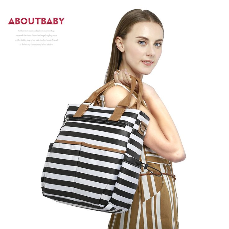 Aboutbaby baby diaper  Nappy Bags fashion stripe Organizer Multifunctional large capacity mummy tote Nursing bag for Mom
