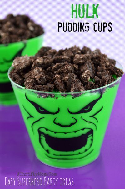 Super Hero Avengers Theme Birthday Party, Hulk Pudding Cups, super hero dessert ideas, easy kids party ideas: