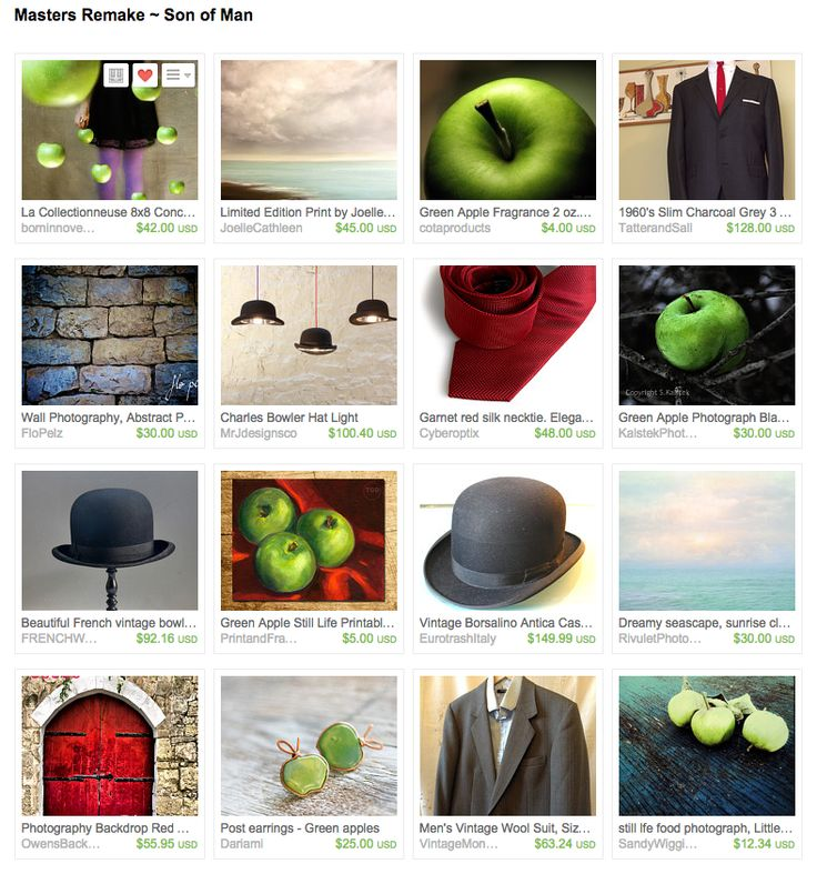 """I created this Magritte treasury for the FlashMob's """"Masters Remake"""" theme • #art #Magritte #bowlerhat #greenapple"""