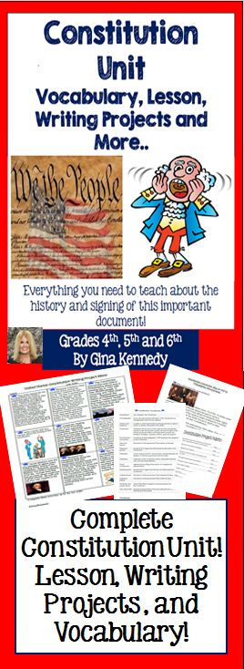 United States Constitution Writing and Research Enrichment Projects With the creative and fun projects, I have included a background lesson on the Constitution and a vocabulary handout! From writing about our founding fathers, to creating fictional invitations to the delegates; the activities are fun, creative and a perfect way to teach about this important document.