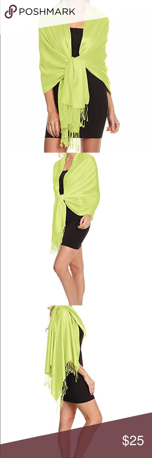 SUPER SOFT TRAVEL PASHMINA SCARF WRAP SHAWL STOLE Material: 100% pashmina Size: 72 inches x 27 inches (excluding 3 inches tassels) Brand new, seal in plastic wrapper Weight: 6.5 oz Imported Perfect for Traveling! Color: Lime Green Accessories Scarves & Wraps