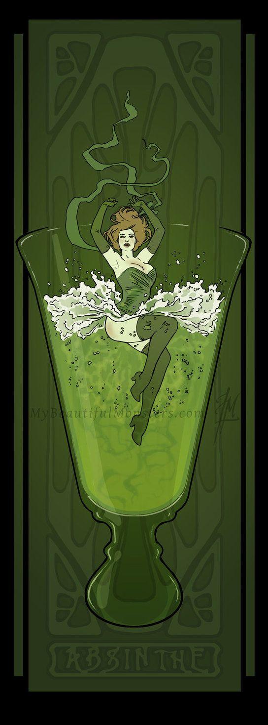 Art Nouveau Absinthe Poster by ~MyBeautifulMonsters on deviantART