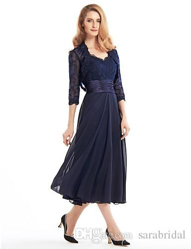 5aafe518ac39b Ink Blue Tea Length Dresses For Mother Lace Long Sleeve Jecket Chiffon Plus  Size Mother of the Bride Dress Party Prom Gowns WWL