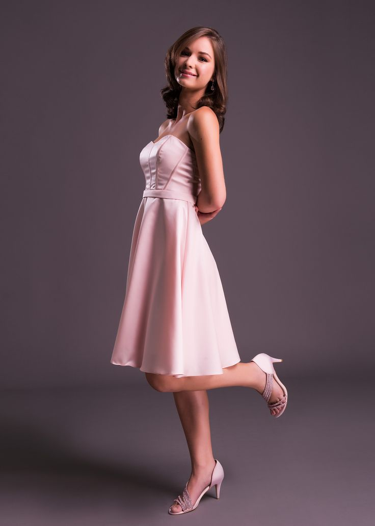 Short and sweet! This pink satin dress by Viola Chan is available in South Africa exclusively at Bride&co (style: WBM0010). Click to view more