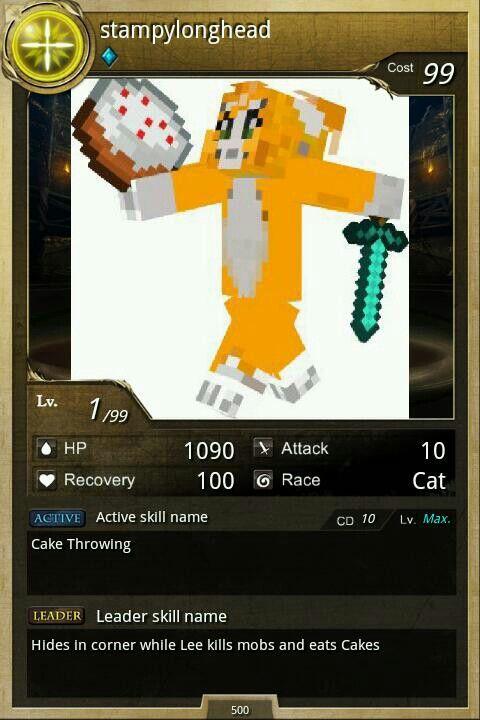 Pokemon card :stampylo...L For Lee Minecraft Stampy