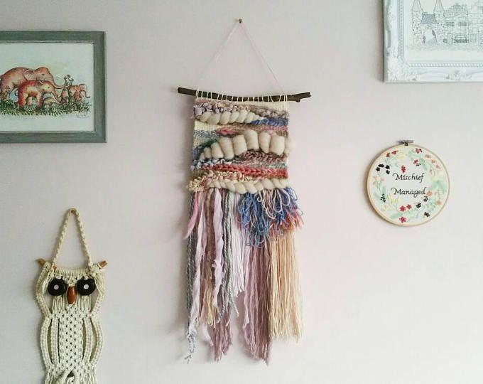 Woven Wall Art 'Marie' ~ Fibre Art ~ Weaving ~ Wall Decor ~ Whimsical Decor ~ Pastel Art ~ Pastel Weaving ~ Hand Woven ~ Natural Materials