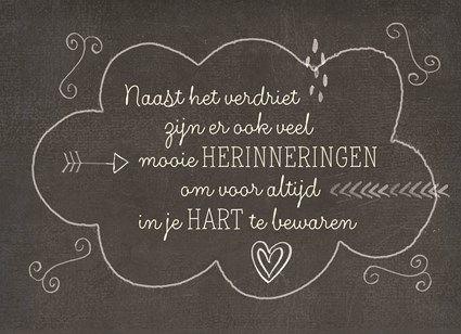 Naast het verdriet zijn er ook veel mooie herinneringen om voor altijd in je hart te bewaren. #Hallmark #HallmarkNL #Wenskaart #herinnering #herinneringskaarten #sympathy #inlovingmemory #vooraltijdinmijnhart