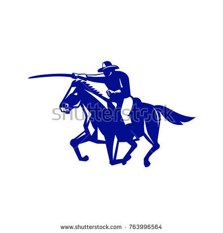 Retro style illustration of an American or United States  Cavalry riding on horse with sword Charging viewed from side on isolated background.  #cavalry #retro #illustration