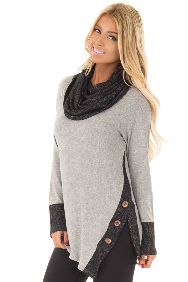 7f428722bd5a0 Lime Lush Boutique - Grey Top with Soft Black Cowl Neck and Button Details