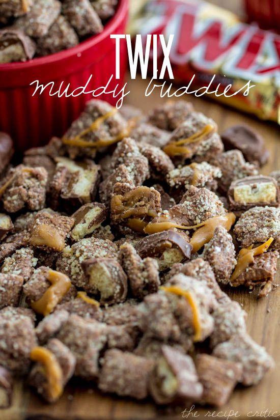 Twix Muddy Buddies at http://therecipecritic.com Delicious and addicting Muddy Buddies that taste just like a Twix Bar!