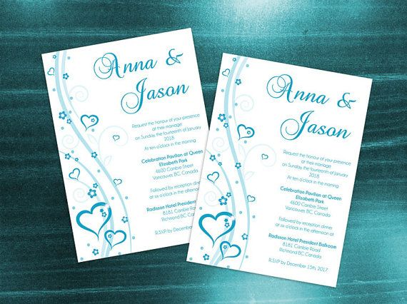 DIY Printable Wedding Invitation Card Template | Editable MS Word file | 5 x 7 | Instant Download | Turquoise Blue Heart Romance