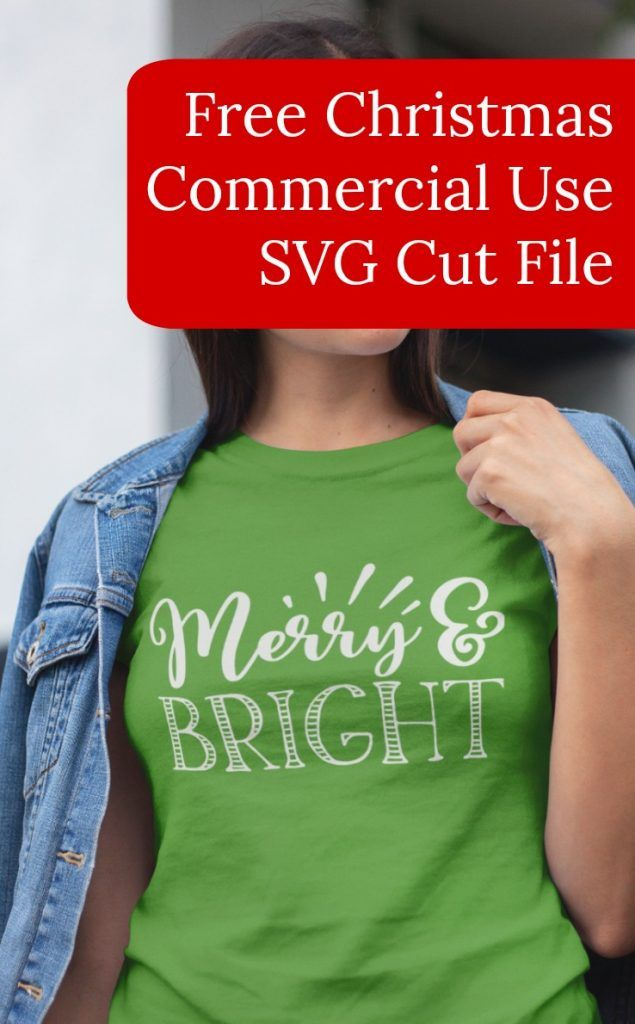 Free 'Merry & Bright' Christmas SVG Commercial Use Cut File for Silhouette Cameo and Portrait or Cricut Explore or Maker - by cuttingforbusiness.com