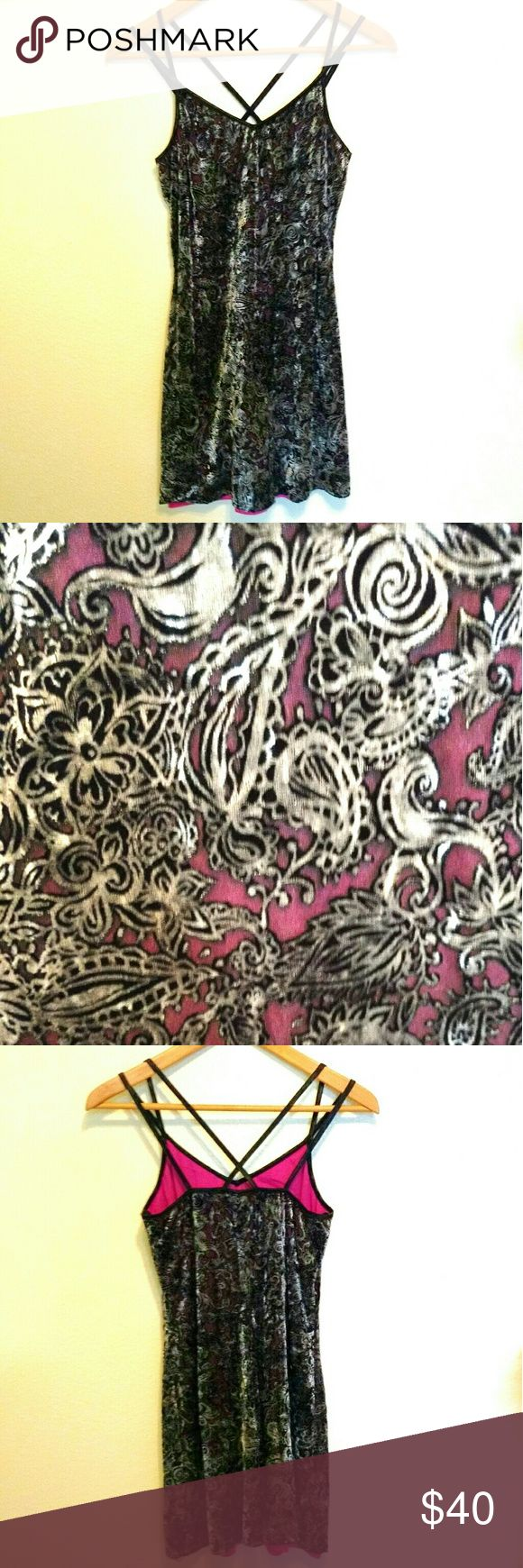 Vintage 90s Burnout Velvet Dress Purchased in 1997-- I am the original owner! Dress with crisscross spaghetti straps in silver and black paisley burnout velvet with bright pink lining. The lining subtly shows through the burnout parts of the velvet and the effect is amazing! (See detail photos) Excellent condition as I take very good care of my clothes. Vintage Dresses