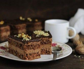 Diós szelet, főtt csokoládékrémmel