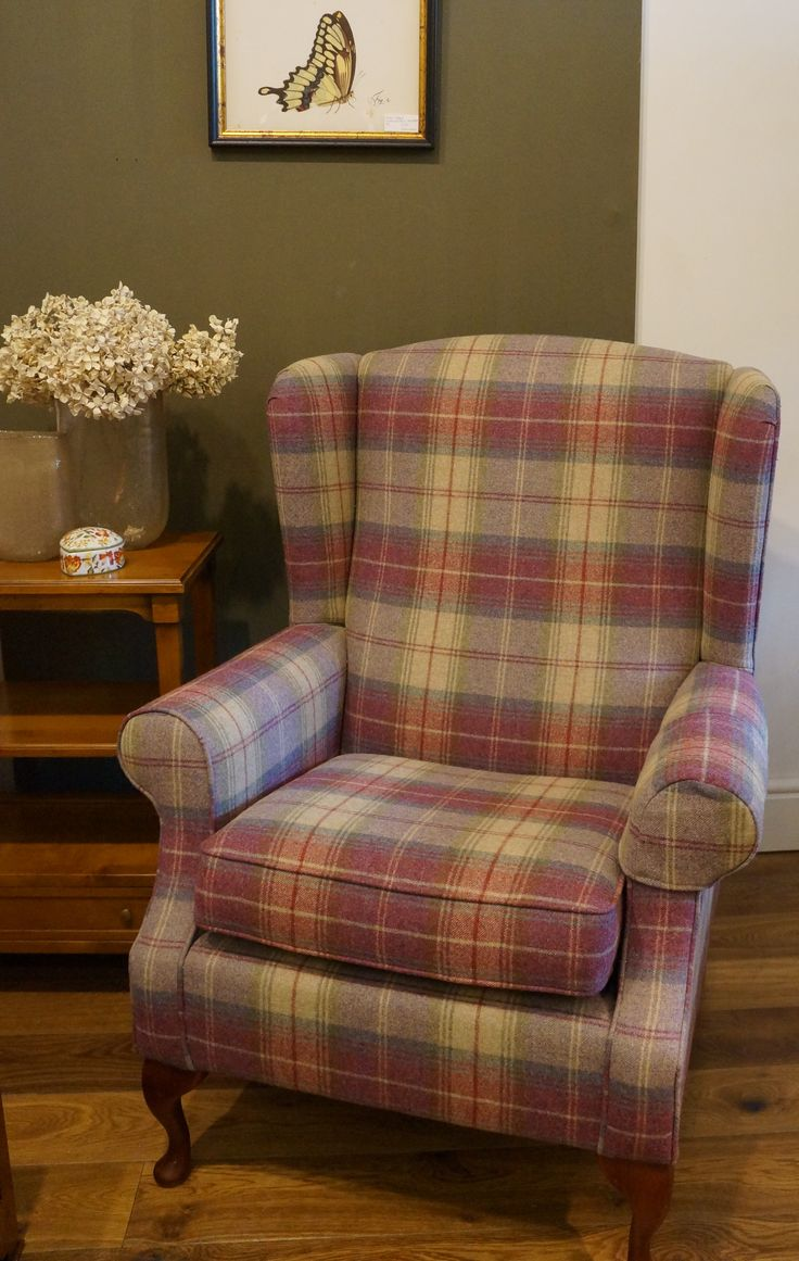 Blenheim wing back chair in sanderson highlands plaid for Drawing room chairs designs