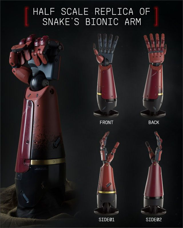 A bionic myoelectric arm prosthesis was utilized by Venom Snake in 1984. The prosthesis replaced his left arm, as it had been lost in the aftermath of the Ground Zeroes Incident in 1975, although he was originally fitted with a simpler prosthesis. The newer arm was fitted shortly after his escape from the hospital in which he had spent nine years in a coma. Specifically designed for Venom Snake, the arm was red in its default color (although depending on the arm's current function, the…