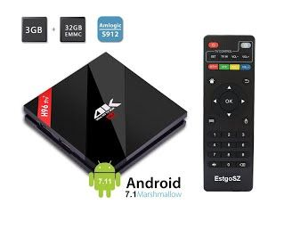 """Features & Benefits"" 2017 Model EstgoSZ Android 7.1 Smart TV BOX 3GB RAM/32GB ROM Amlogic S912 Octa Core CPU 64Bits 4K HD Dual-band WIFI 2.4GHz/5.0GHz/Bluetooth 4.1/1000M LAN"