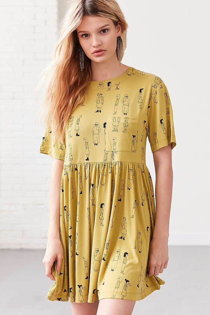 Silence + Noise Doodle Dee Babydoll Tee Mini Dress, size medium or large, $65, urban outfitters