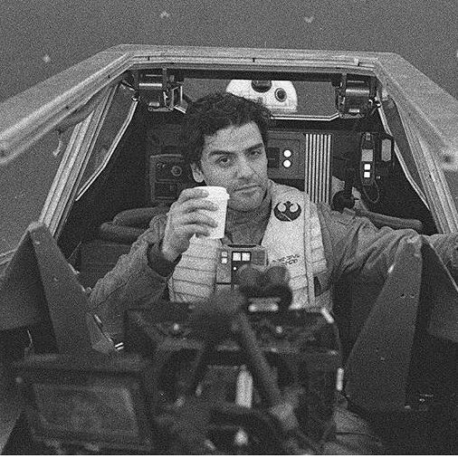 Behind The Scenes Star Wars VIII The Last Jedi photo of Oscar Isaac as Poe Dameron.