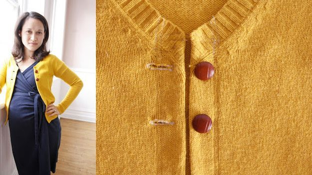 From sweater to top buttoned cardigan
