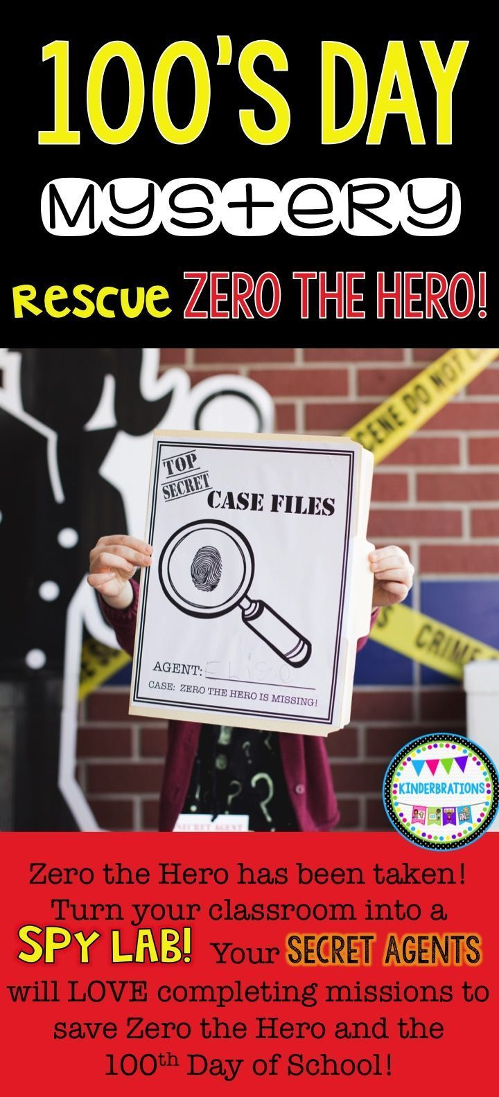 Are you looking for a unique way to celebrate 100's Day? Turn your classroom into a spy lab! Zero the Hero has been taken by Devious Agent 99 in an effort to stop the 100th day of school from happening. Your students will become secret agents as they w