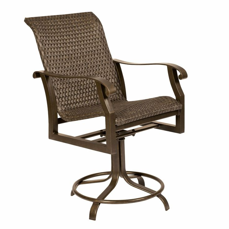 Delightful Woodard 5T0469 Cortland Woven Round Weave Outdoor Swivel Counter Stool  Slate 607 Atg   Lowes