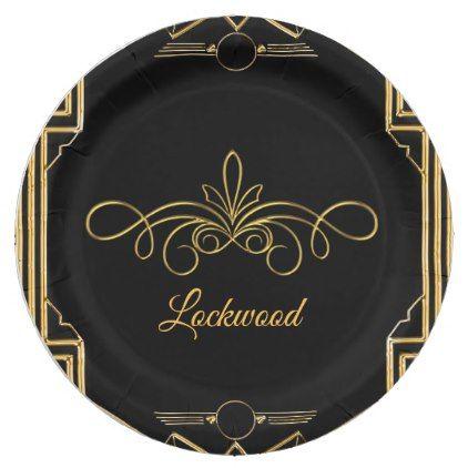 Elegant Art Deco Gatsby Wedding Paper Plates - kitchen gifts diy ideas decor special unique individual customized