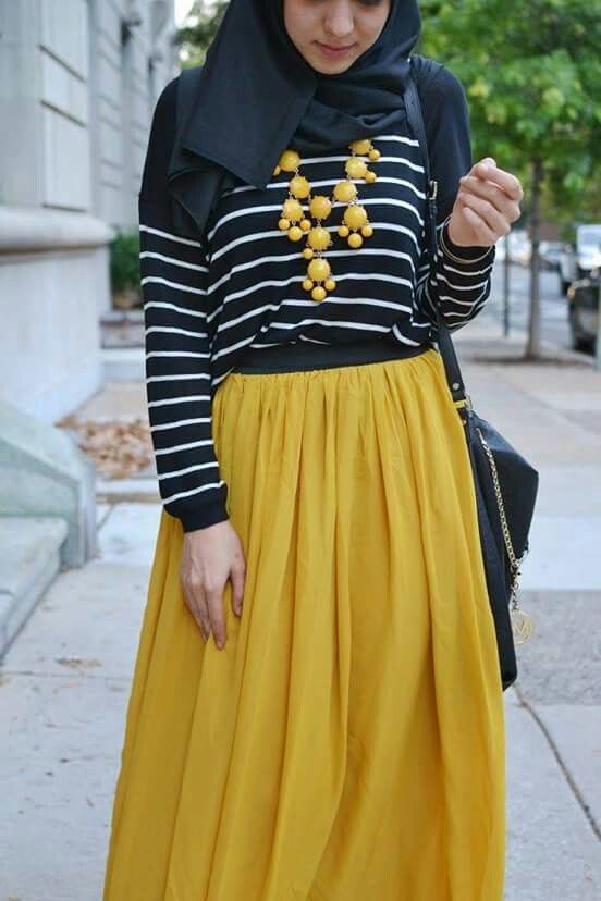 Yellow maxi skirt. Hijab Chic blog.