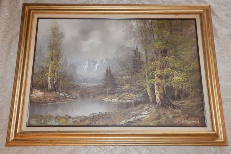 Vtg Large Sofa 24 X 36 Oil Painting On Canvas By R Thomas