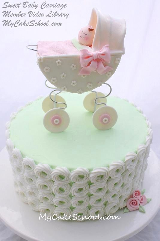 Sweet Baby Carriage cake, from a video in MyCakeSchool.com's Member Tutorial Library.  (Cake is frosted in buttercream). Online Cake Decorating Videos, Tutorials, Recipes, & more!