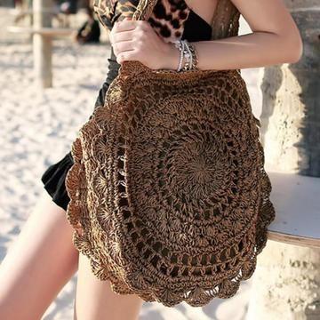 Handmade Knitted Big Round Beach Bag