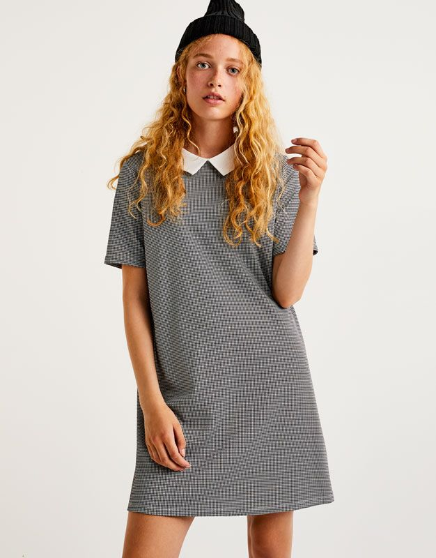 Houndstooth print dress - Dresses - Clothing - Woman - PULL&BEAR United Kingdom