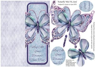 Butterfly Mini DL Cut n Fold Over The Edge Card on Craftsuprint - Add To Basket!