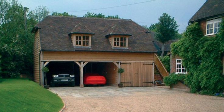 Dwarf house oak frame 3 bay 2 storey garages crown oak Double garage with room above