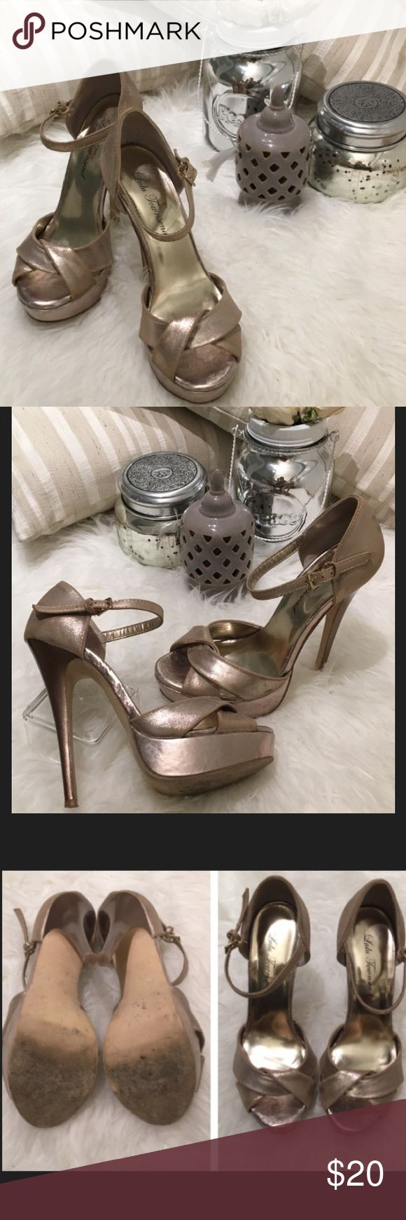 """Silver high heels sandals Lulu Townsend Silver high heels with platform in the front. Fair condition ( details of scratches shown on last pictures). 5.5"""" heel height and size 6.5 Lulu Townsend Shoes Heels"""