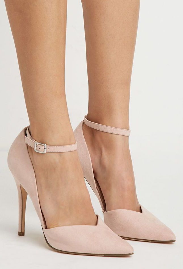 Dress to impress with blush suede heels.