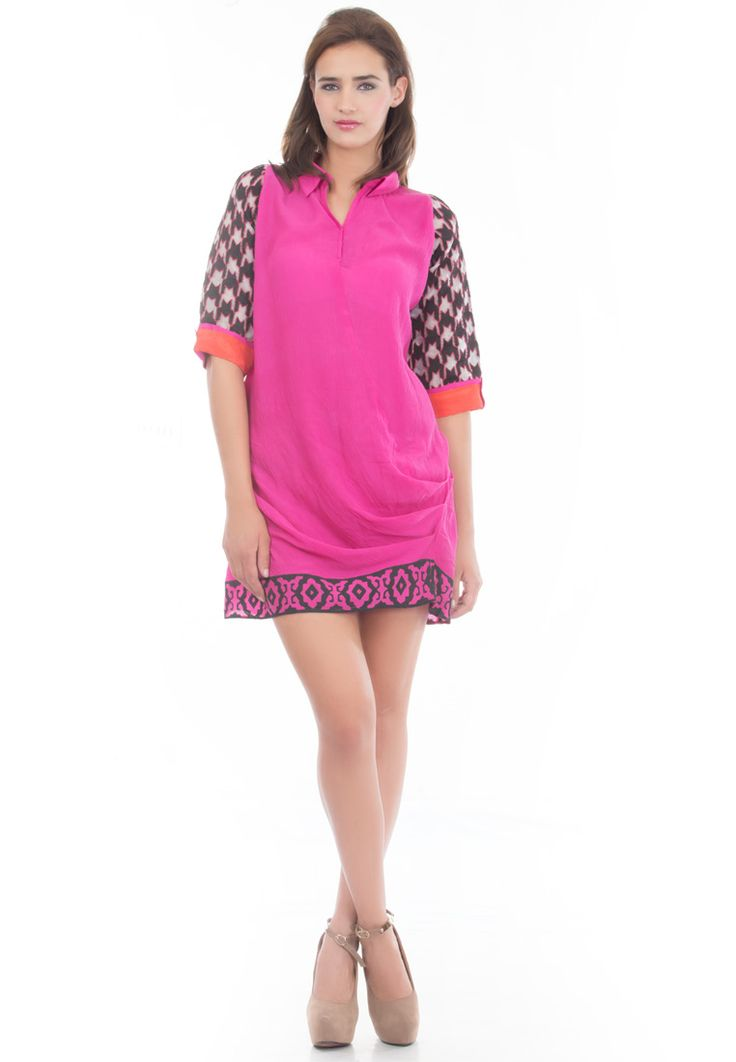 Crushed Cotton Summer Dress -> - Crushed Cotton - Pink Color - Dress with Cowls at Side - Emboidery on Sleeves - Block Print Hem - Dry Clean  Order Now : http://www.rinkusobti.com/clothing/crushed-cotton-summer-dress