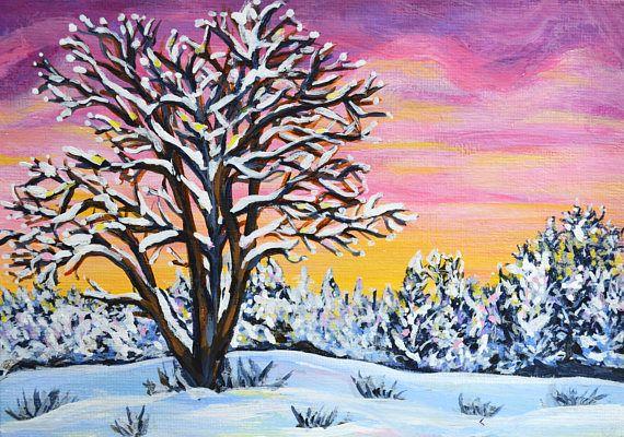 Original sunrise landscape acrylic painting study 7